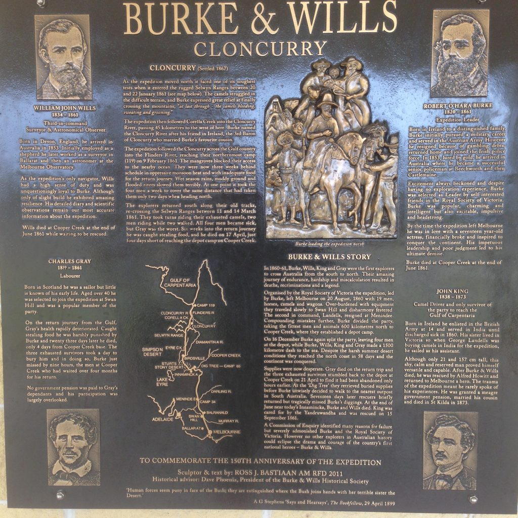 Plaque of Burke and Wills Expedition. A bit of Australian history for you all.